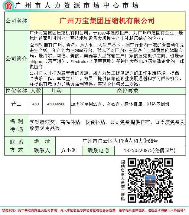 昆山市劳动局电�_广州万宝集团压缩机有限公司招聘简章_广元市人力资源市场网